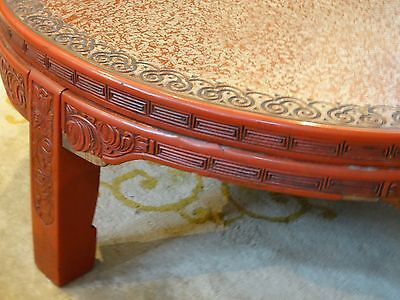 ANTIQUE LATE 19 c. CHINESE LACQUER INTRICATE CARVED CINNABAR COFFEE TABLE 6