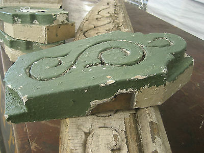 "circa 1870 victorian GOTHIC keystone fretwork element GREEN paint 12.5"" x 7 x 2"" 4"