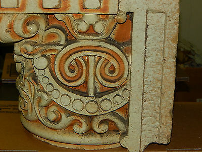 Antique Clay Fired Architectural Capitols, Heavy Glaze, Historical Building 4
