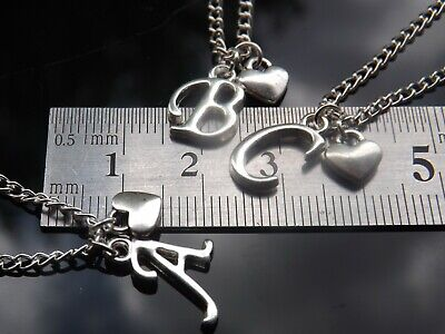 """Personalised Initial 16-20"""" Necklace, Mini Heart Pendant & Silver Plated Letter 3"""