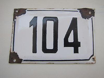 vintage ISRAELI enamel porcelain number 104 house sign # 104 CHRISTMAS SALE ! 2