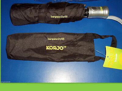 NEW Korjo Windproof Travel Umbrella Black Small 8
