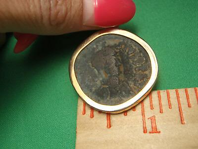 Mounted in 14K Gold Byzantine bronze 491-518AD anastasius 1st AE Follis Coin 6