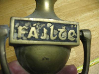 Failte   Gaelic  Door  Knocker  Vintage  Solid  Brass 3