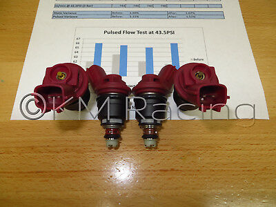 Flow Tested /& Cleaned 4x Nissan SR20DET Red Side Feed 740cc Fuel Injectors
