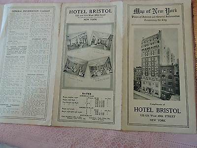 Nyc Subway Map 1910.Vintage 1910 New York City Hotel Bristol Nyc Subway Map Tourism Brochure