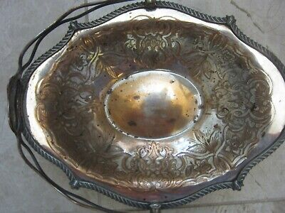 Antique 1850 Brides Basket Silver Plate On Copper 8