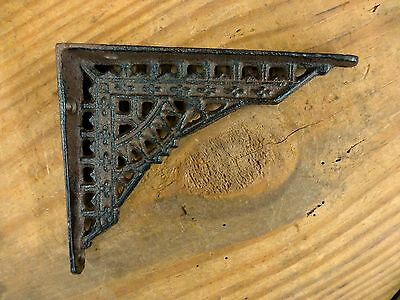 "6 SMALL BROWN ANTIQUE-STYLE 5"" SHELF BRACKETS CAST IRON garden rustic EASTLAKE 6"