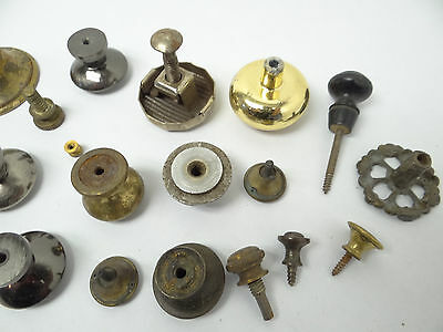 Antique & Vintage Used Old Mystery Metal Brass Drawer Pulls Hardware Round Knobs 10