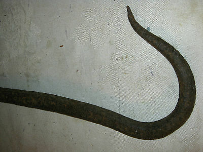 Primitive Country Farm Antique Wrought Iron Hand Forged Lg Iron Art Hook Tool