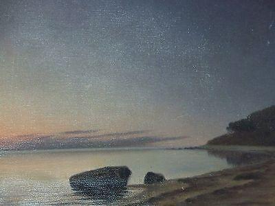 *Marius Nielsen* Listed Danish Artist Antique Seascape Oil On Canvas Painting 2
