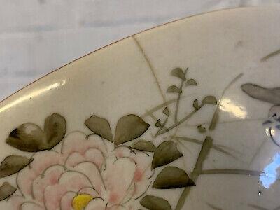 Antique Japanese Signed Kutani Porcelain Bowl w/ Figures in Landscape Decoration 12