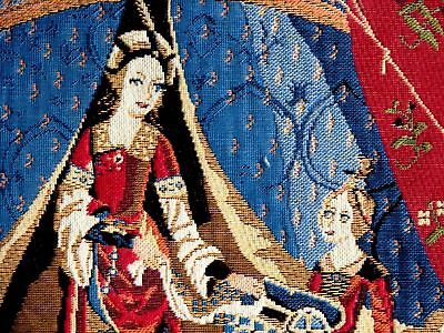 """LADY /& UNICORN A MON SEUL DESIR RED 18/"""" COTTON TAPESTRY CUSHION COVER WITH ZIP"""