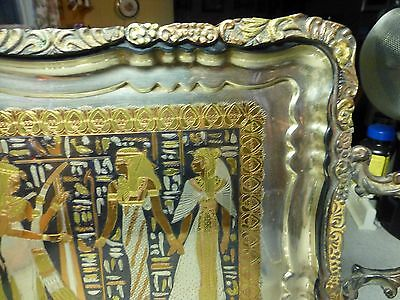 Antique Egyptian Storyline Ornately Engraved Silver, Brass, Copper, Pewter Tray 6