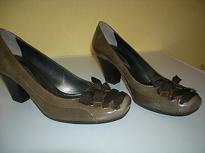 online retailer 4342f adb25 JANET & JANET Damen Schuhe Pumps Lack Leder Khaki Italy Gr.37 Neuw