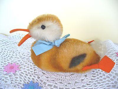 Wunderschöne alte Steiff Spielente Vogel mit Schleife und Druckstimme 14cm! Rar!