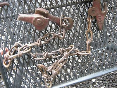 """Vintage 2 Metal Small Pulleys 1/2"""" thick 12 FT long Manila Rope 2"""