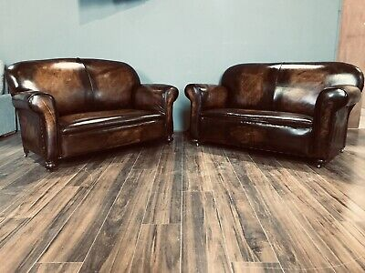 Restored Original 1920's Art Deco Club Sofas In Hand Dyed Leather 10