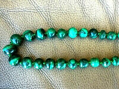 """Vintage Chinese Hand Carved Malachite Necklace 22.5""""L 3"""