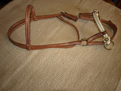 Western harness leather double rope side pull USA natural custom cowboy  H4005 6