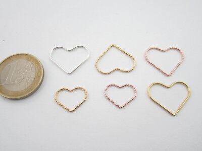 connettore cuore filo liscio argento 925 20 x 16 mm confezione 2 pezzi