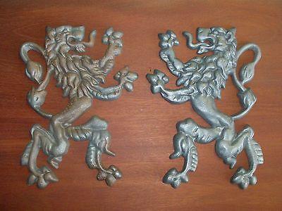 "Scottish Rampant Unicorn with Lion, Driveway Gate Crest,Cast Aluminum,23""x 19"" 9"
