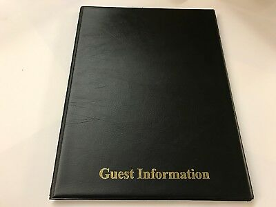 Qty 10 (ten)Pvc BLACK LEATHER LOOK GUEST INFORMATION FOLDER - TOP QUALITY 2