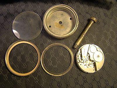 Vintage Elgin Car Clock Pocket Watch Long Stem Case Face Glass Parts or Repair 8