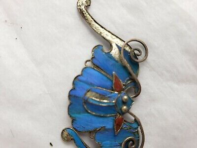 Antique Chinese blue Kingfisher feather hair stick pin ornament 4