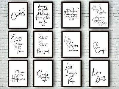 Bathroom Prints Script Style Wall Art Funny Poster. Quality Toilet Home Pictures 3