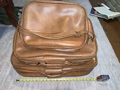 Vintage SCOVILL SUITCASE Tan Faux Leather (3) Piece Luggage 8