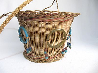Antique Woven Wicker Reed Round Hanging Sewing Basket~Glass Bead Tassels~Vintage 2