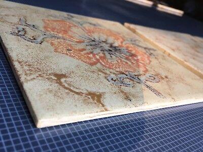 DÄNISCHBURG Vintage Beige Tiles Made In Germany 🇩🇪 Floral Design 7