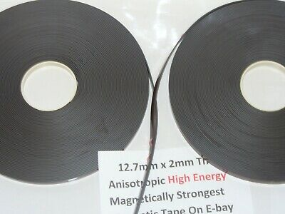 Magnetic Tape,Strip Self Adhesive 12.7mm x 2mm  Anisotropoic Strong High Energy 9