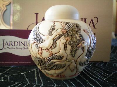 Harmony Ball Jardinia Kingdom In a Gaggle Geese Marble Resin Lidded Jar NIB