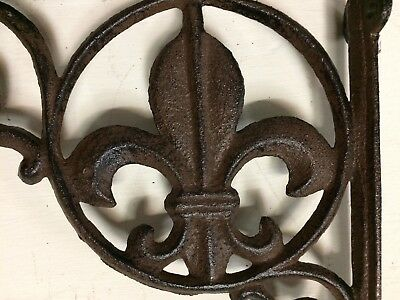 SET OF 2 FLEUR DE LIS SHELF BRACKET BRACE, Antique Brown Finish cast iron 3