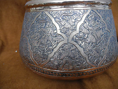 Antique Islamic Arabic Persian Copper Pail or Handled Pot with intricate work 6