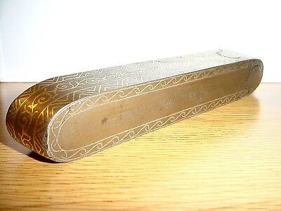 Antique Persian Gold Inlaid Qajar Qalamdan Pen Case Damascene Pen Case 6