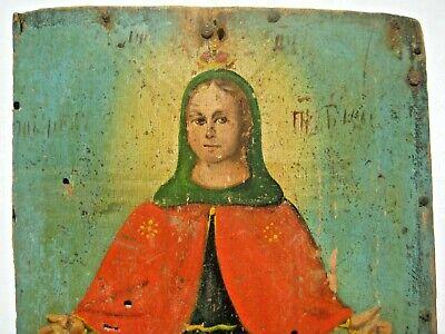 Original 19th century Antique Orthodox Icon Pokrov Russian Relic 2