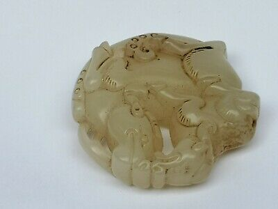 Collection Old China Jade Hand Carving mother and son Sheep Pendant Decoration 4