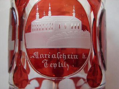 "antikes Badeglas Ranftbecher ""Teplitz 1852"", rot gebeizt, orig Biedermeier (118) 5"