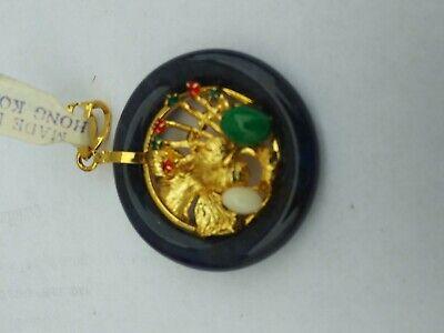 China  Jade with Various gemstones Pendant pair 玉坠 3