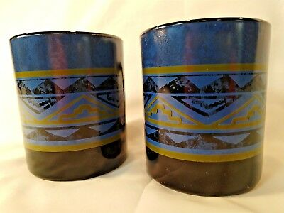 Set of 2 Arcoroc France Black Yucatan Coffee Mug Blue Southwest Aztec Design 4