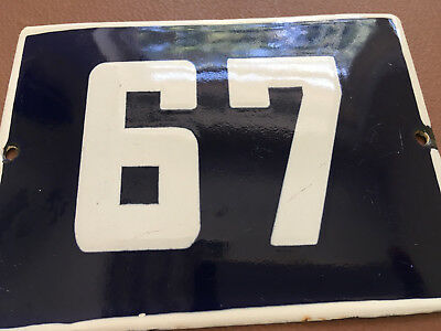 ANTIQUE VINTAGE ENAMEL SIGN HOUSE NUMBER 67 BLUE DOOR GATE STREET SIGN 1950's
