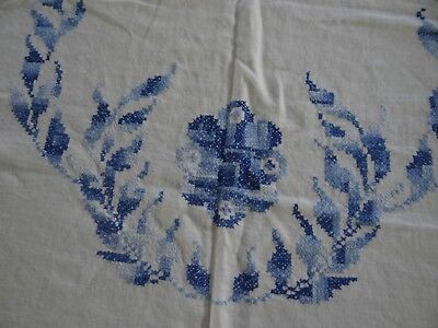 """Antique Hand Embroidered Cotton Table cloth Blue leaf Design  55"""" x 74"""" 5"""