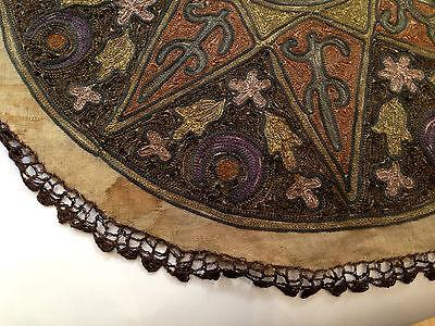 1880's ultra Antique Embroidery Ottoman Tughra Metallic Thread Turkish Tinsel 5