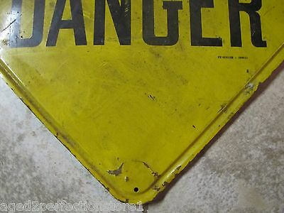 Old Industrial Factory DANGER Metal Sign Stonehouse Denver lipped edge back mnt 6