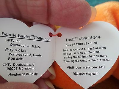 Mwmt Errors Ty Beanie Baby Inch Pvc Pellets Mint With Mint Tag