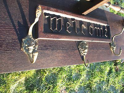 Vintage English Wooden Coat Rack Kitchen Hat Rack Mid Century Modern Welcome 4
