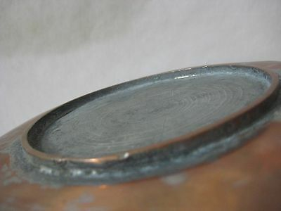 "Old Vintage Turkish Holy-Land Arabic Copper Bowl, 10 1/2"" D X 1 3/4"" H, Marked 6"